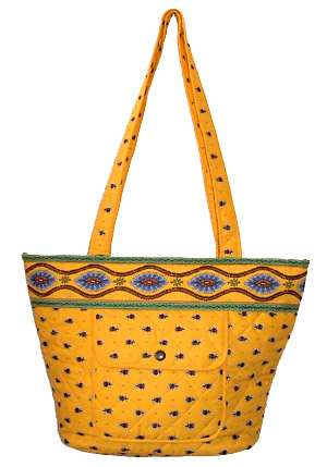 Provence pattern trapezoid tote bag (flowers pattern. yellow)